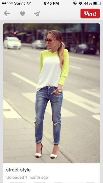 shoes jeans shirt neon yellow/white shirt