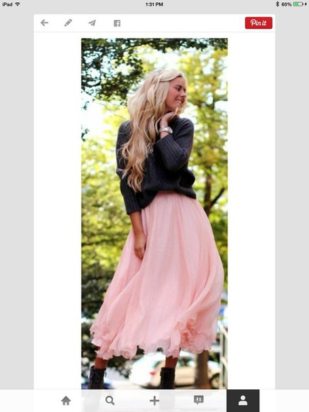flowy pink skirt boots princess black sweater