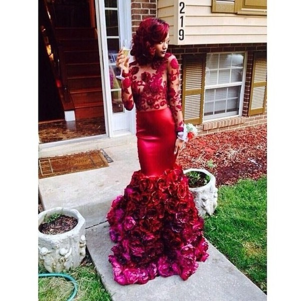 red dress flowers mermaid prom dress dress redlace long dress prom dress homecoming dress red flowers any color lace dress