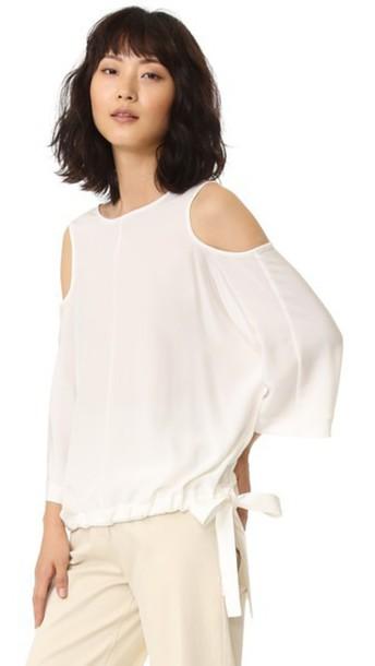 Tibi Cutout Sleeve Silk Blouse - Ivory