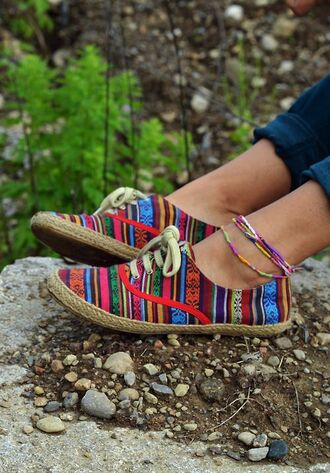 shoes tribal pattern multi colored