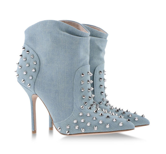 shoes ankle boots light blue blue high heels