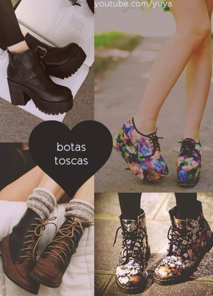 shoes black shoes boots indian boots indie hipster flowers swag you love it colorful shoes platform shoes flower print, crop tops