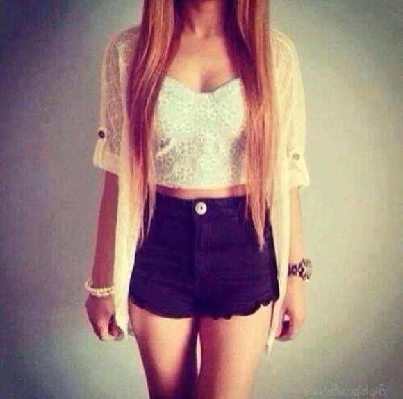 laced black blouse shorts white tank top crop tops mini shorts summer outfits jewels jacket lace top