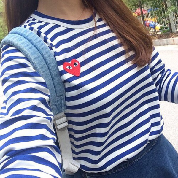 New Men Women lady boy COMME DES GARCONS CDG Play Striped T shirts ... 2626f5963