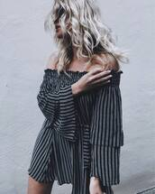 dress,tumblr,off the shoulder,off the shoulder dress,stripes,striped dress,mini dress,bell sleeves,bell sleeve dress