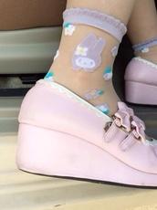 shoes,pink,cute,kawaii,socks,my melody