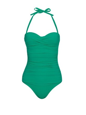 bandeau swimsuit green swimwear