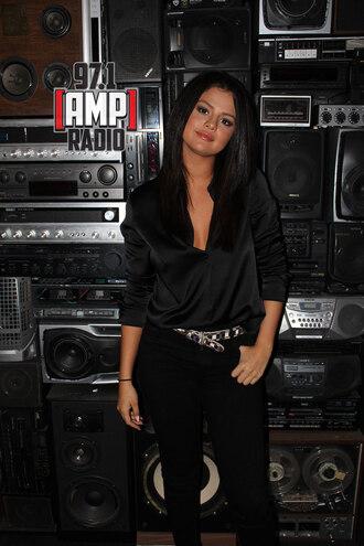 blouse selena gomez black black blouse jeans black jeans