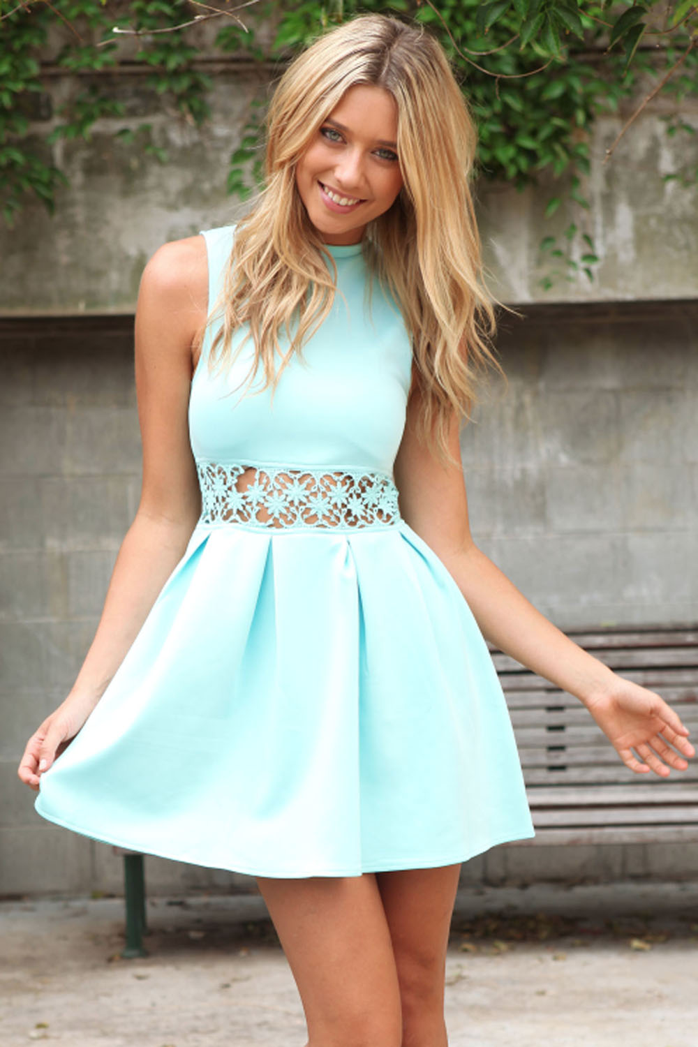 Party Dress - Mint Turtle-Neck Dress with Cut-out   UsTrendy