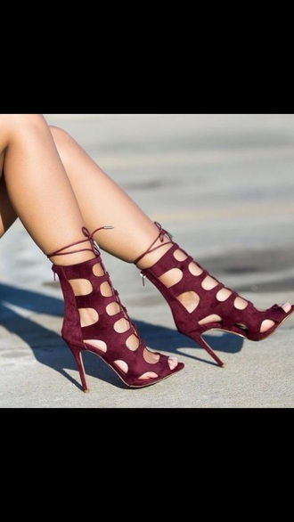 shoes red shoes strapped around ankle maroon peep toe pumps