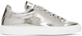 sneakers silver leather shoes