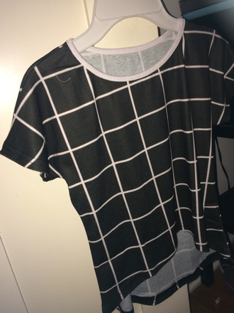 shirt grid t-shirt black and white aesthic clothes soft grunge crop tops style summer top black t-shirt