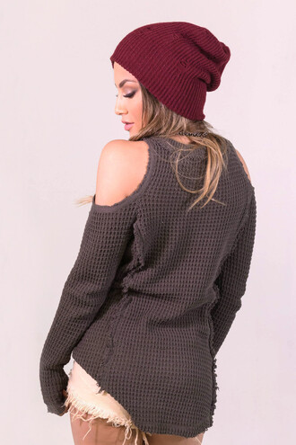sweater knitwear fashion style fall outfits trendy cut out shoulder cool casual cozy comfy freevibrationz
