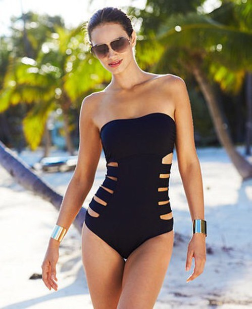 swimwear black monokini black one piece cutout