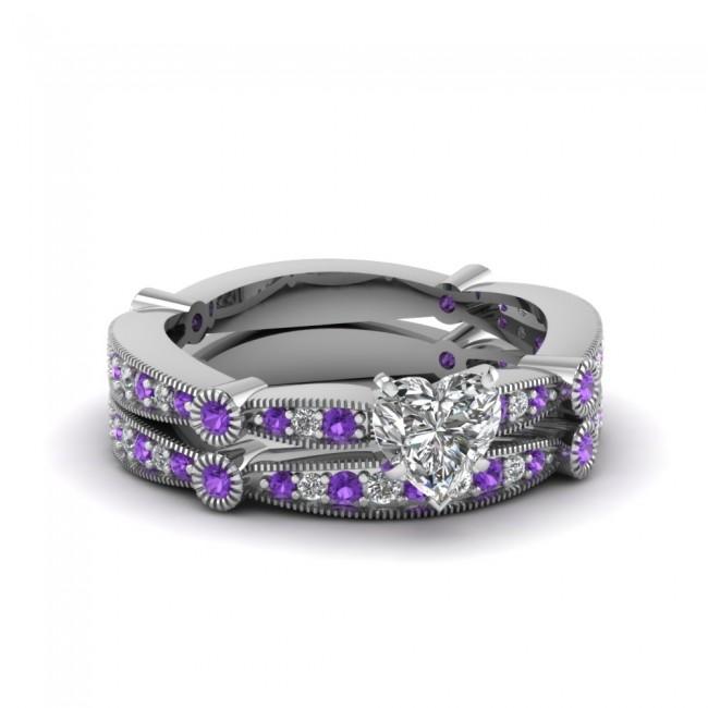 Women s Fashion Heart Shaped Diamond Bridal Wedding Ring Set With Violac