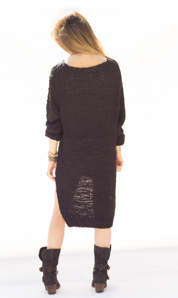 sweater dress knit black knitwear long sleeves top shirt