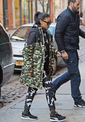 coat army green jacket army green camouflage rihanna rihanna style long coat stylish fall outfits camo pants urban winter coat winter swag winter outfits