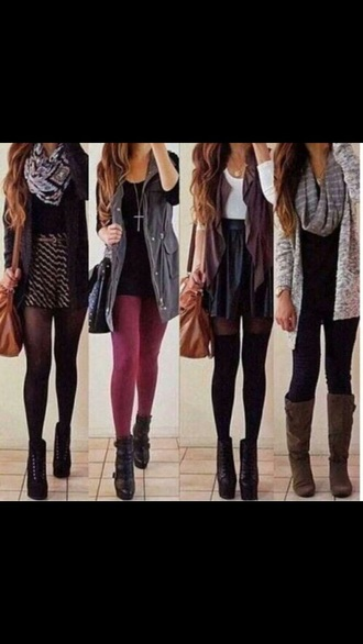 cardigan fall tumblr sweet cute trendy style fashion outfit accessories necklace scarf hair skirt tights top t-shirt long socks boots heels shoes black boho grunge scene fall sweater hipster underwear jewels bag jeans jacket