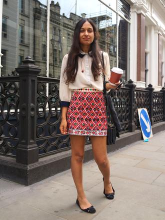 skirt embroidered skirt mini skirt embroidered printed skirt shirt white shirt flats black flats bag black bag