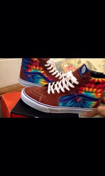 shoes vans tie dye sk8-hi colorful