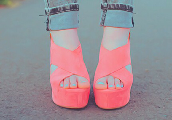 wedges hot pink shoes coral shoes cute high heels