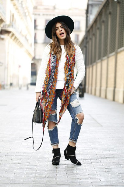 dulceida blogger hat printed scarf black boots white sweater ripped jeans folk fall accessories fall outfits