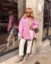 jacket,pink jacket,pockets,wide-leg pants,cropped pants,snake print,boots,shoulder bag,retro sunglasses