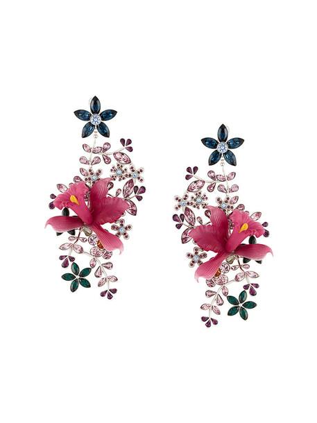 Dsquared2 women earrings floral purple pink jewels