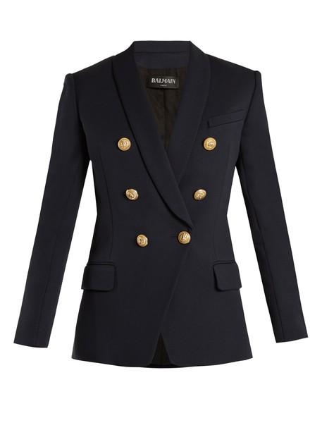 Balmain blazer wool navy jacket