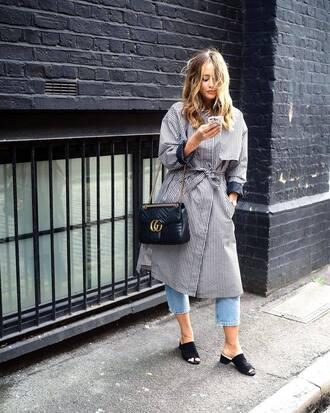 coat grey coat gucci bag tumblr denim jeans cropped jeans shoes mules bag black bag gucci