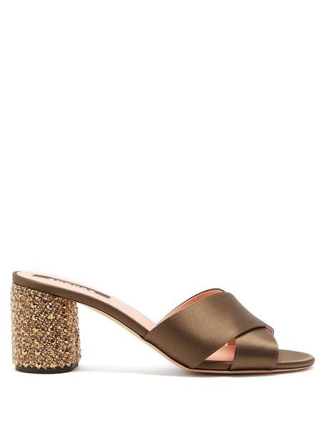 Rochas heel embellished mules satin khaki shoes