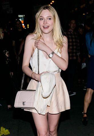 bag diorama bag dior bag dior nude bag nude shorts shorts high waisted shorts top elle fanning celebrity style celebrity white top