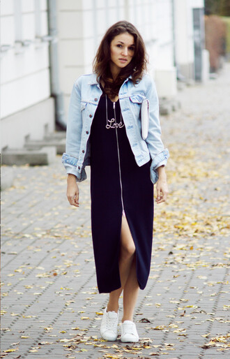 ceci bloom ceci bloom | blogger denim jacket slit dress jewelry love necklace statement necklace