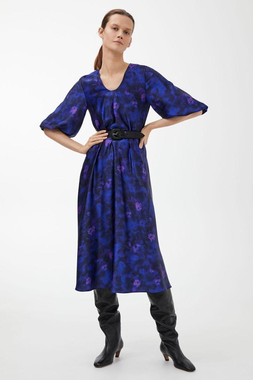 Satin Balloon-Sleeve Dress