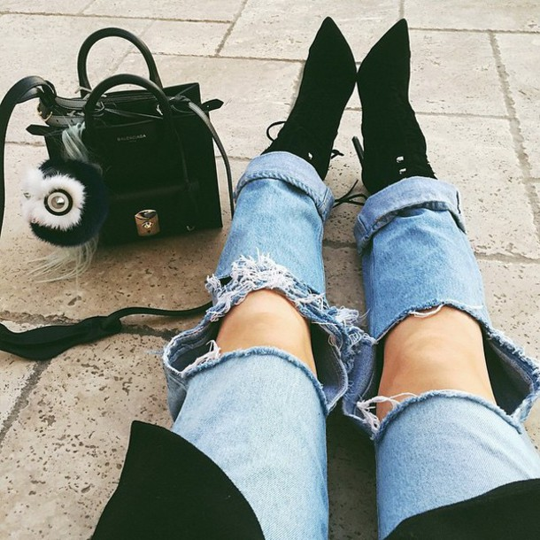 ripped jeans shoes jeans
