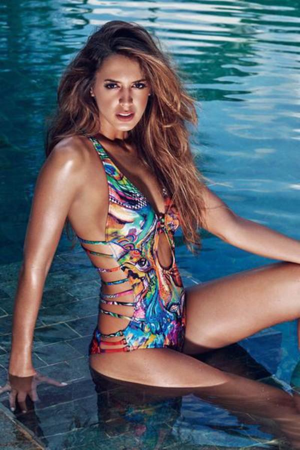 swimwear agua bendita cheeky monokini one piece swimsuit print racerback ruched bikini