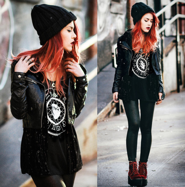 t-shirt black leather jacket black t-shirt leggings jacket