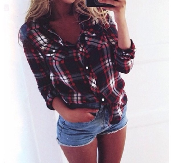 blouse black red white hottest flannel shirt skirt country style summer cute  outfits shorts denim denim shorts cute dark blue skirt t-shirt shirt flannel shirt fall outfits flannel