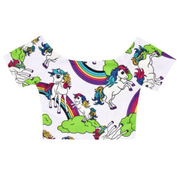 top unicorn shirt unicorn crop tops kawaii