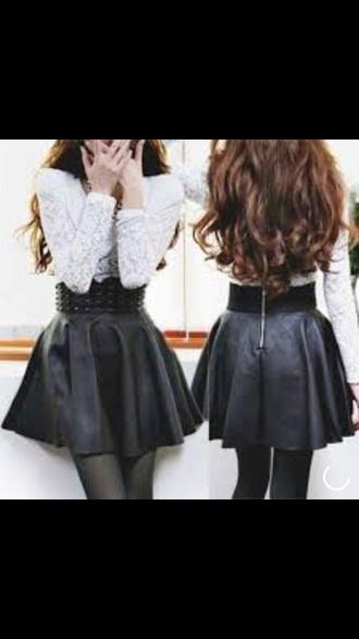 skirt black skirt leather skirt