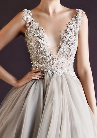dress ballgown grey balgown grey dress ball gown dress tulle dress beaded beaded dress