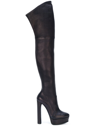 women over the knee boots leather blue shoes