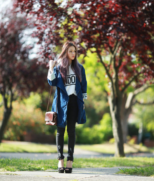 jumper jeans jacket blogger chloe ting top