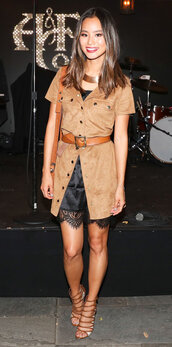 dress,shirt dress,sandals,blogger,camisole,jamie chung,camel,necklace,suede coat,slip dress,lace dress,black dress,mini dress,gold necklace,belt,brown bag,shoulder bag,strappy heels,strappy sandals,sandal heels,high heel sandals,celebrity style,celebrity