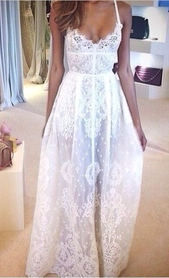 dress white dress boho chic prom dress flowy dress lace dress