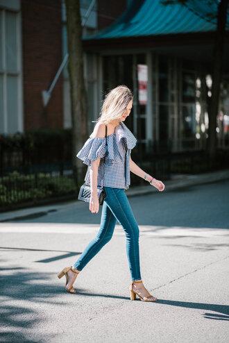 top ruffled top tumblr gingham ruffle blue top one shoulder denim jeans blue jeans sandals sandal heels high heel sandals skinny jeans bag black bag shoes