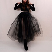 skirt,sheer,black,long skirt,american apparel,tulle skirt