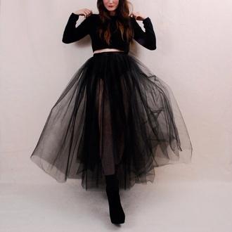 skirt sheer black maxi skirt american apparel tulle skirt