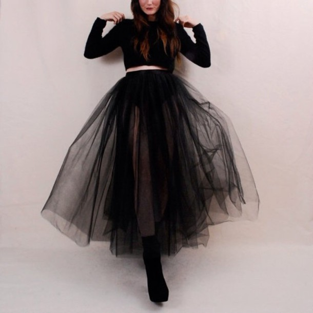 skirt sheer black long skirt american apparel tulle skirt